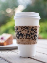 hand crafted lace coffee sleeve